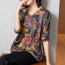 Women's large Spring 2021 Purple yellow flower XL (for 110-125 kg) 2XL (for 125-140 kg) 3XL (for 140-155 kg) 4XL (for 155-170 kg) 5XL (for 170-185 kg) 6xl (for 185-200 kg) T-shirt singleton  commute easy moderate Socket Long sleeves Plants and flowers ethnic style V-neck routine routine R2096R