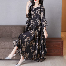 Women's large Spring 2021 Black (flower position not fixed) Big size average Dress singleton  commute easy thin Socket three quarter sleeve Decor ethnic style Crew neck routine R2086 Lady Rui longuette Polyester 100% Pure e-commerce (online only) Irregular skirt