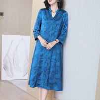 Women's large Spring 2021 Blue (organ fold) XL (for 95-110 kg) 2XL (for 110-125 kg) 3XL (for 125-140 kg) 4XL (for 140-155 kg) Dress singleton  commute easy moderate Socket three quarter sleeve ethnic style V-neck Medium length routine R21073 Lady Rui pocket longuette Other 100%