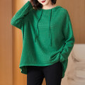 Women's large Autumn 2020 Green black XL 2XL (for 125-140 kg) 3XL (for 140-155 kg) 4XL (for 155-170 kg) 5XL (for 170-185 kg) 6xl sweater singleton  commute easy moderate Socket Long sleeves Solid color Simplicity Hood Medium length routine R2702 Lady Rui Pure e-commerce (online only)