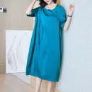 Women's large Spring 2021 Black green turquoise green XL (for 105-120 kg) 2XL (for 120-135 kg) 3XL (for 135-150 kg) 4XL (for 150-165 kg) Dress singleton  commute easy Socket Short sleeve Solid color Simplicity Crew neck Medium length routine R21069 Lady Rui longuette Other 100%