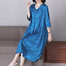 Women's large Spring 2021 blue XL (for 105-120 kg) 2XL (for 120-135 kg) 3XL (for 135-150 kg) 4XL (for 150-165 kg) Dress singleton  commute easy thin Socket three quarter sleeve Decor ethnic style V-neck routine R21110 Lady Rui longuette Other 100% Pure e-commerce (online only)