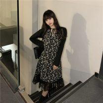 Dress Winter 2020 black S,M,L singleton  Long sleeves commute High waist 18-24 years old Korean version 30% and below