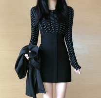 Fashion suit Autumn of 2019 S. M, average size Black top, black skirt 18-25 years old Other / other