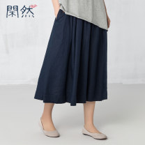 skirt Spring 2017 M L S Sky blue, bean green, Tibetan green longuette commute Natural waist other Solid color Type A 30-34 years old XR-L192 More than 95% other Leisurely hemp literature Flax 100%