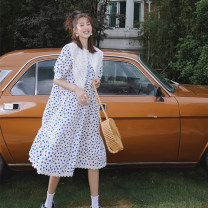 Dress YBER White dress, Black Polka Dot M,L,XL,XXL Korean version Long sleeves have more cash than can be accounted for autumn stand collar Dot