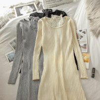 Dress Winter 2020 Black, apricot, grey Average size Mid length dress singleton  Long sleeves commute Crew neck High waist Socket A-line skirt routine 18-24 years old Type A 51% (inclusive) - 70% (inclusive) knitting polyester fiber