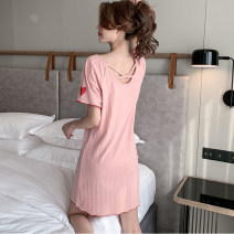 Nightdress Qi Meifang Size M [focus on small gifts from stores], size L [focus on stores to give small gifts], XL [focus on stores to give small gifts], XXL [focus on stores to give small gifts] sexy Short sleeve Living clothes Middle-skirt summer Solid color youth Crew neck cotton printing
