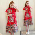 Dress Summer of 2018 Red, Navy M,L,XL,2XL,3XL,4XL singleton  Short sleeve commute stand collar Loose waist Decor Socket A-line skirt routine Others Type A Other / other ethnic style printing 31% (inclusive) - 50% (inclusive) other hemp