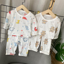 suit Other / other Big bear air conditioning suit, dinosaur air conditioning suit, geometric air conditioning suit, cherry air conditioning suit, cloud air conditioning suit, round face bear air conditioning suit 80cm,90cm,100cm,110cm,120cm neutral summer leisure time Long sleeve + pants 2 pieces