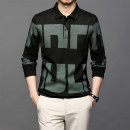 T-shirt Business gentleman Green, purplish red thick 165/M,170/L,175/XL,180/2XL,185/3XL,190/4XL Chiamania Long sleeves Lapel easy business affairs Four seasons middle age routine Business Casual 2020 Geometric pattern Abstract pattern International brands