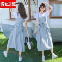 Dress Summer 2021 White dress light blue skirt two-piece set, white dress pink skirt two-piece set, single light blue strap skirt, single pink strap skirt S,M,L,XL longuette singleton  Short sleeve commute Crew neck High waist Solid color other Big swing routine straps 18-24 years old Type A other