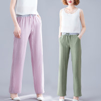 Casual pants Army green, pink, off white M,L,XL,2XL,3XL Summer of 2019 trousers Straight pants Natural waist commute Thin money 71% (inclusive) - 80% (inclusive) Cotton blended fabric ethnic style cotton