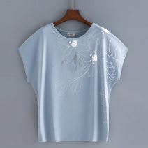 Middle aged and old women's wear Summer 2021 M,L,XL,2XL,3XL,4XL leisure time T-shirt easy singleton  Broken flowers 50-59 years old Socket moderate Crew neck routine Bat sleeve Simple comb pure cotton 96% and above Short sleeve
