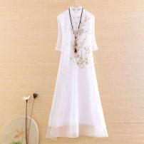 cheongsam Summer 2020 XXL,S,M,L,XL White, light blue long cheongsam Retro No slits daily Oblique lapel Decor Embroidery XL12059 Ziazib 96% and above