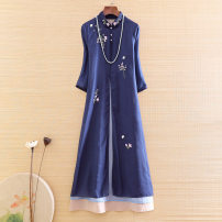 Dress Summer 2020 Blue, pink S,M,L,XL,2XL longuette Fake two pieces three quarter sleeve commute stand collar Loose waist Decor Socket A-line skirt routine Others Type A Ziazib Retro Embroidery 31% (inclusive) - 50% (inclusive) cotton