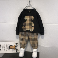 suit Xiao Ma Tengyun White, black 90cm,100cm,110cm,120cm,130cm,140cm,150cm male spring and autumn leisure time Long sleeve + pants 2 pieces routine There are models in the real shooting Socket nothing lattice cotton children Expression of love Chinese Mainland