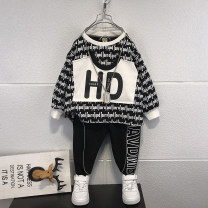 suit Xiao Ma Tengyun Black, white 90cm,100cm,110cm,120cm,130cm,140cm,150cm male spring and autumn Korean version Long sleeve + pants 2 pieces routine No model Socket nothing stripe cotton children Expression of love other Chinese Mainland