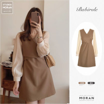 Dress Spring 2021 Black, Khaki S,M,L,XL Middle-skirt Fake two pieces Long sleeves commute V-neck High waist Solid color zipper A-line skirt puff sleeve Others 18-24 years old Type A Korean version 31% (inclusive) - 50% (inclusive) Chiffon polyester fiber