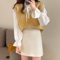 skirt Spring 2021 S,M,L Off white, purple, green, black Short skirt Versatile High waist A-line skirt Solid color 18-24 years old