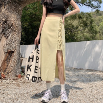 skirt Spring 2021 S,M,L Yellow, black Mid length dress sexy High waist Irregular Solid color 18-24 years old 30% and below cotton Button
