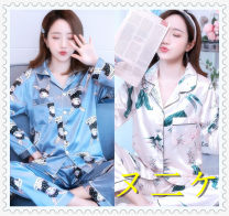 Pajamas / housewear set female Other / other Polyester (polyester) Long sleeves Sweet pajamas autumn routine Small lapel Plants and flowers trousers 2 pieces Iced silk
