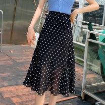 skirt Summer 2021 S,M,L,XL Wave point, broken flower Mid length dress Versatile High waist A-line skirt Type A Spot 7175# Chiffon other