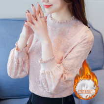 T-shirt Pink [thin], white [thin], pink [thickened], white [thickened], black [skirt] S,M,L,XL,2XL Spring 2020 Long sleeves Crew neck easy have cash less than that is registered in the accounts routine commute polyester fiber 96% and above 25-29 years old Korean version youth