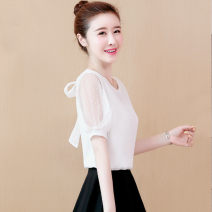 Lace / Chiffon Summer 2021 White, red, pink, black [skirt] S,M,L,XL,2XL,3XL Short sleeve commute Socket singleton  easy Regular Crew neck Solid color puff sleeve 25-29 years old Bright silk, pleating, stitching, mesh, lace Korean version 96% and above polyester fiber