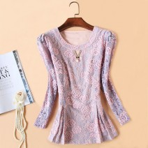 Lace / Chiffon Summer 2021 Purple Pink M,L,XL,2XL,3XL,4XL,5XL three quarter sleeve Versatile Socket singleton  Self cultivation have cash less than that is registered in the accounts Crew neck Solid color puff sleeve 51% (inclusive) - 70% (inclusive) cotton