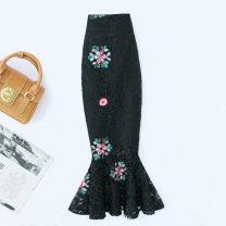 skirt Summer 2021 S,M,L,XL,2XL,3XL,4XL Black Medium length, white medium length, black long, white long Mid length dress commute High waist Ruffle Skirt Decor Type A 91% (inclusive) - 95% (inclusive) Lace cotton Retro 161g / m ^ 2 (including) - 180g / m ^ 2 (including)