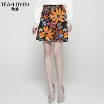 skirt Summer 2020 S M L XL Green orange Short skirt gorgeous High waist A-line skirt Decor Type A 30-34 years old More than 95% Crepe de Chine Teahdyeh / Didai polyester fiber Embroidered sequins Polyester 100% Pure e-commerce (online only)