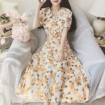 Dress Summer 2020 M, L Mid length dress singleton  Short sleeve High waist Broken flowers Big swing Chiffon
