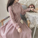 Dress Autumn 2020 Pink S,M,L,XL Mid length dress singleton  Long sleeves stand collar Solid color Others 18-24 years old Type A Chiffon