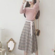 Dress Autumn of 2019 Pink S,M,L Mid length dress Two piece set Long sleeves Sweet Crew neck High waist lattice Socket A-line skirt Others 18-24 years old Type A