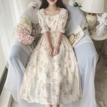 Dress Summer 2020 Decor S,M,L,XL Mid length dress singleton  Short sleeve square neck Broken flowers Big swing Others Type A Chiffon