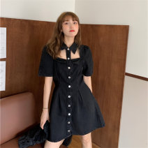 Dress Summer 2021 Picture color S,M,L Short skirt singleton  Short sleeve commute Polo collar High waist Solid color Single breasted A-line skirt routine straps 18-24 years old Type A Other / other Korean version Cut out, button 51% (inclusive) - 70% (inclusive) other other
