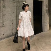 Dress Summer 2021 White, black Average size Mid length dress Two piece set Short sleeve commute Polo collar High waist Solid color Single breasted A-line skirt routine Others 18-24 years old Type A Other / other Korean version Ruffles, buttons 51% (inclusive) - 70% (inclusive) other other