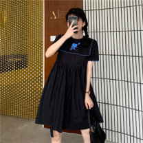 Dress Summer 2021 Black, blue Average size Mid length dress singleton  Short sleeve commute Crew neck High waist Solid color Socket A-line skirt routine Others 18-24 years old Type A Other / other Korean version wave zero point two four three six 51% (inclusive) - 70% (inclusive) other other