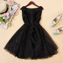 Dress Summer 2021 Black, lavender, rose, white Average size Short skirt singleton  Sleeveless commute Crew neck Loose waist Solid color Socket A-line skirt Type A Korean version 81% (inclusive) - 90% (inclusive) organza