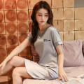 Pajamas / housewear set female Other / other M,L,XL,XXL,XXXL Lake blue, bean paste powder, cherry blossom powder, sand green, silver gray, brick red Polyester (polyester) Short sleeve luxurious pajamas summer Thin money V-neck Solid color Socket youth More than 95% Iced silk Embroidery 200g