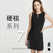 Dress Spring 2021 Black, dark blue, light sand, pine green 0,2,4,6,8,10,12,00 Middle-skirt singleton  Sleeveless commute V-neck middle-waisted Solid color zipper A-line skirt routine 25-29 years old Type X Ol style More than 95% wool