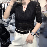 Lace / Chiffon Summer 2021 White, black S,M,L,XL,2XL elbow sleeve street Socket singleton  Self cultivation Regular V-neck Solid color routine 25-29 years old Lace, hook flower, hollow out 51% (inclusive) - 70% (inclusive) Europe and America