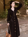 Dress Spring 2021 Black, red S,M,L,XL Mid length dress singleton  Long sleeves commute Admiral middle-waisted Solid color Single breasted Big swing shirt sleeve 18-24 years old Type X Retro Bow, button 51% (inclusive) - 70% (inclusive) Cellulose acetate