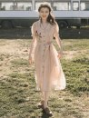 Dress Summer 2020 Apricot Pink S,M,L Mid length dress singleton  Short sleeve Sweet tailored collar High waist Solid color Single breasted A-line skirt puff sleeve 18-24 years old Type X More than 95% organza  princess
