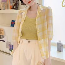 Lace / Chiffon Spring 2021 Pink, yellow S,M,L,XL,2XL elbow sleeve Versatile Cardigan singleton  easy have cash less than that is registered in the accounts stand collar lattice routine 30-34 years old 30% and below polyester fiber