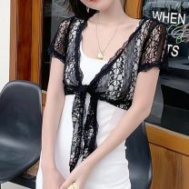 Lace / Chiffon Spring 2021 Apricot, white, black S,M,L,XL,2XL Short sleeve Versatile Cardigan singleton  easy have cash less than that is registered in the accounts V-neck Solid color routine 30-34 years old Gouhua hollow 96% and above polyester fiber