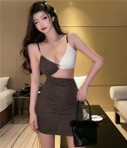 Dress Summer 2020 Coffee with white S,M,L Short skirt singleton  Sleeveless commute V-neck middle-waisted Solid color zipper One pace skirt camisole Type A fold 51% (inclusive) - 70% (inclusive) cotton
