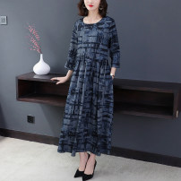 Dress Autumn of 2019 blue M,L,XL,2XL,3XL longuette singleton  three quarter sleeve commute Crew neck Loose waist lattice Socket other routine Others Type A Other / other fold