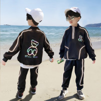 suit Handsome bear Black, gray 110cm,120cm,130cm,140cm,150cm,160cm male spring and autumn leisure time Long sleeve + pants 2 pieces routine There are models in the real shooting Zipper shirt nothing Cartoon animation cotton children Expression of love TZ-0041 Class B Other 100% Chinese Mainland